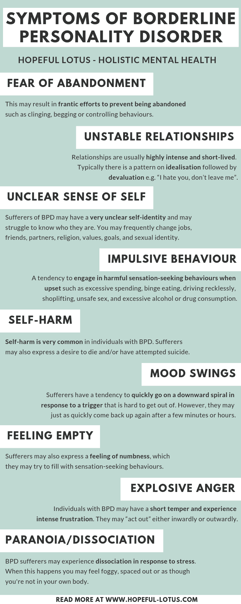 An infographic on the core symptoms of borderline personality disorder (BPD), otherwise known as emotionally unstable personality disorder (EUPD). Fear of abandonment, unstable relationships, unclear self-identity, impulsive behaviour, self-harm, mood swings, feeling empty, explosive anger and paranoia/dissociation.