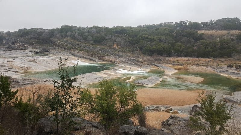 Pedernales Falls State Park from high up on the trail