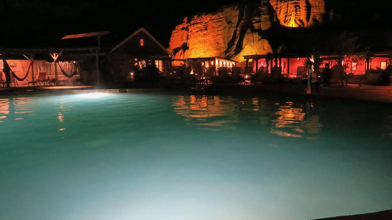 The larger pool at Ojo Caliente at night