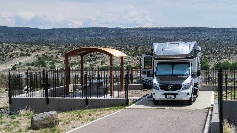 Our Winnebago View parked at a campsite at cochiti lake campground