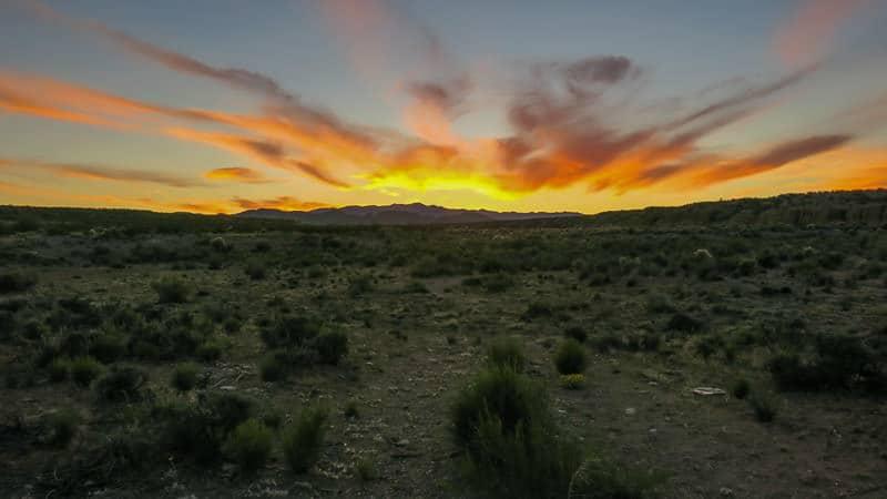 new mexico sunset over the desert