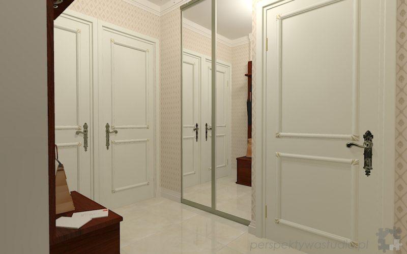 projekt-przedpokoju-projektowanie-wnętrz-lublin-perspektywa-studio-przedpokój-w-kamienicy-styl-klasyczny-białe-drzwi-2