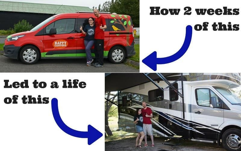 Brooke and Buddy in their Happy Campers van in Iceland and next to their Winnebago View RV