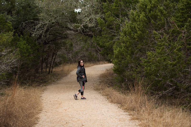 Brooke posing on the walking trail back to the car
