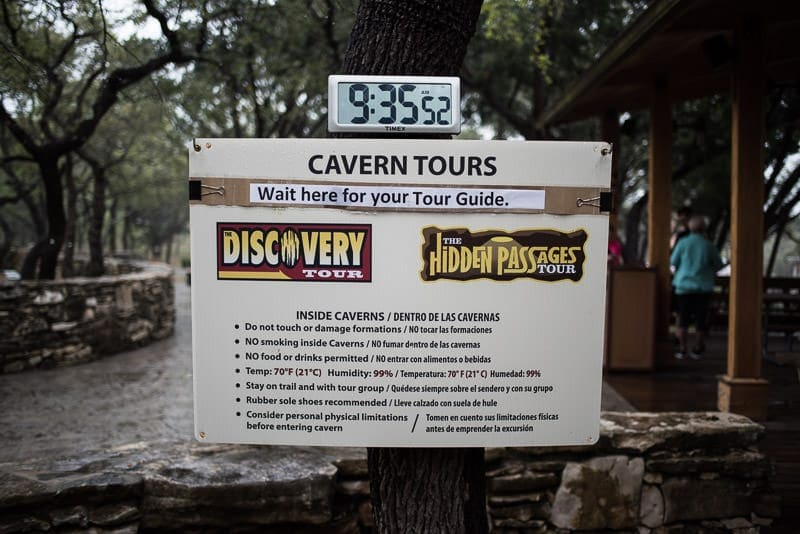 Sign showing the tour options at Natural Bridge Caverns and some rules