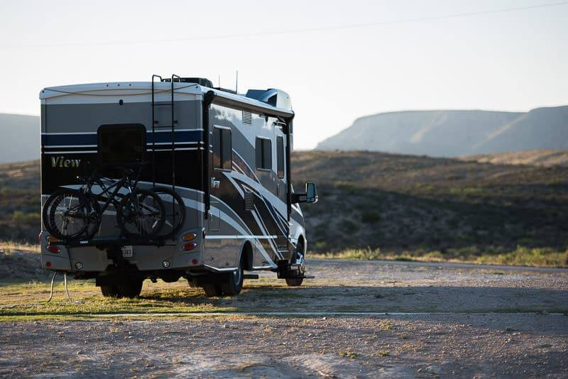 Our RV Parked at the beautiful campsite at Camp Washington Ranch near Carlsbad Caverns