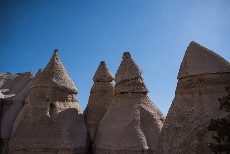 The top of some of the tent rocks with a blue sky