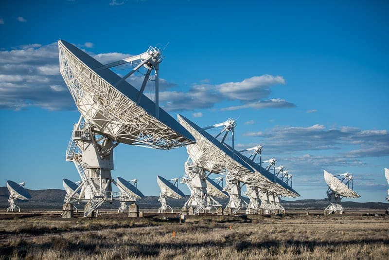 many satellites in a line at the very large array, new mexico