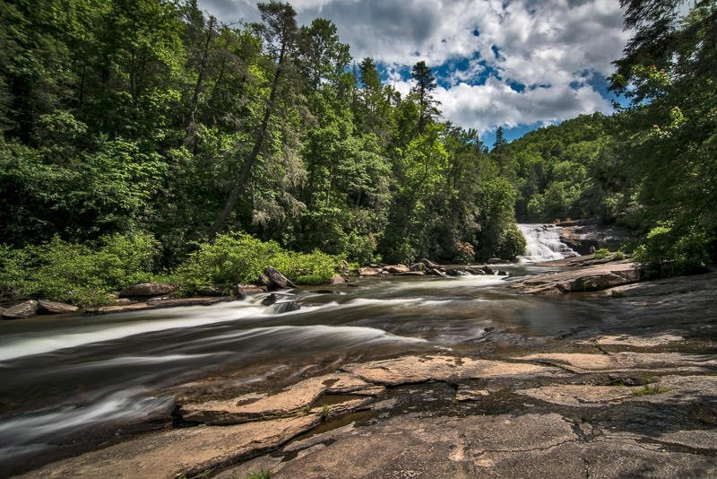 Closer look at the river that is part of Triple Falls in north carolina