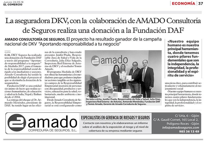 DKV realiza donativo a la Fundación DAF