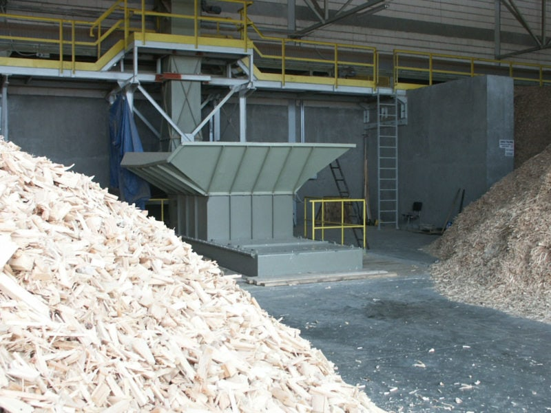 Wood Chips And Hopper Shredder With Magazine And Yellow Railing