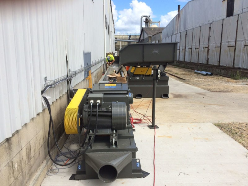 Wood Chipper Outside Being Set Up With Vibration Table And Table At Woodworking Plant In Australia