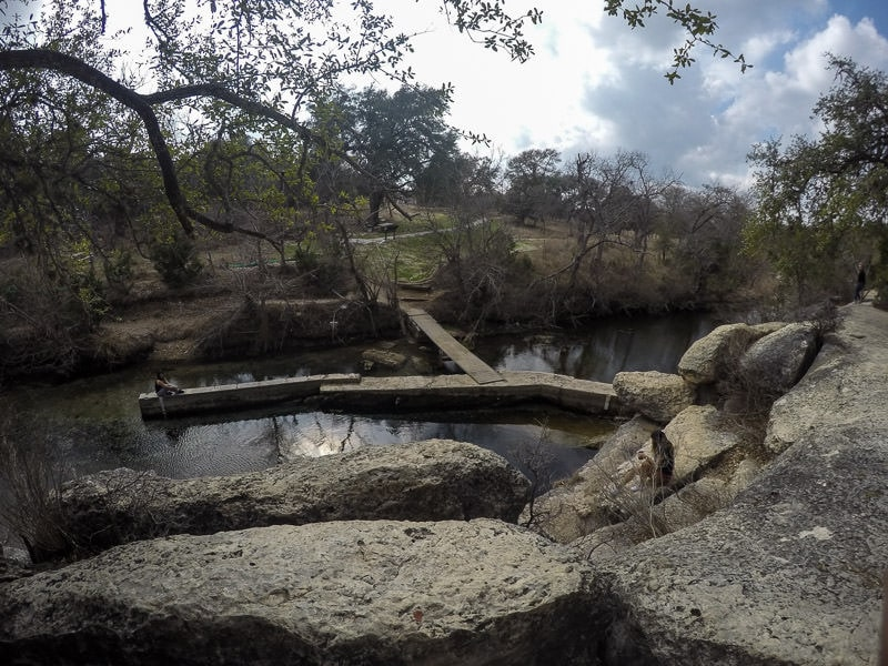 Looking down on Jacob's well in Texas Hill Country from above