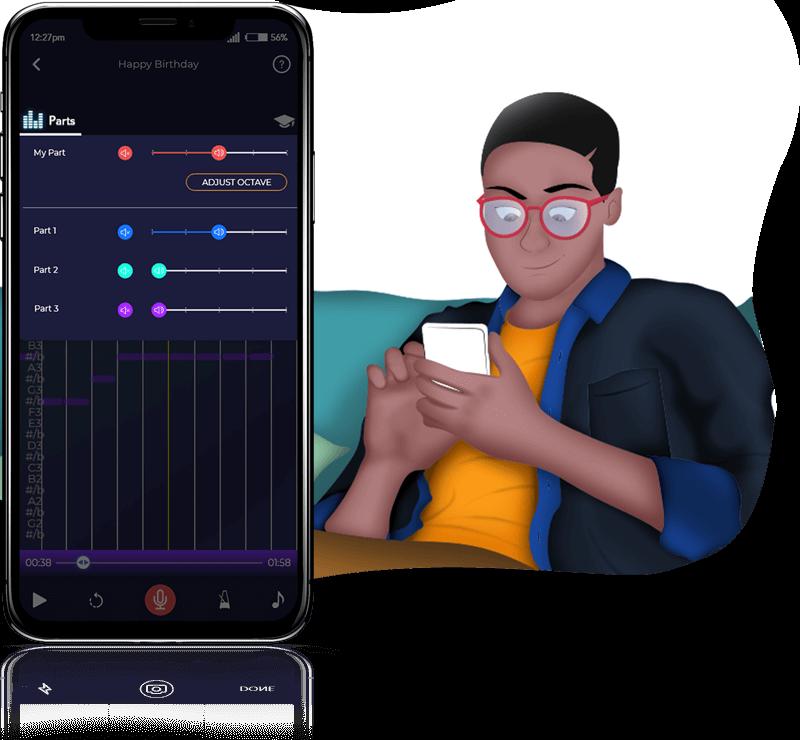 Person using the Harmony Helper app to isolate harmony parts