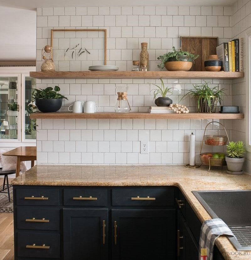 угловая, без верхних шкафов, навесных, кухня, фото, пример