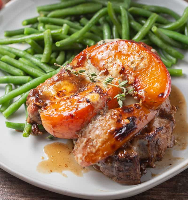 Pork Chops with Peaches on a plate