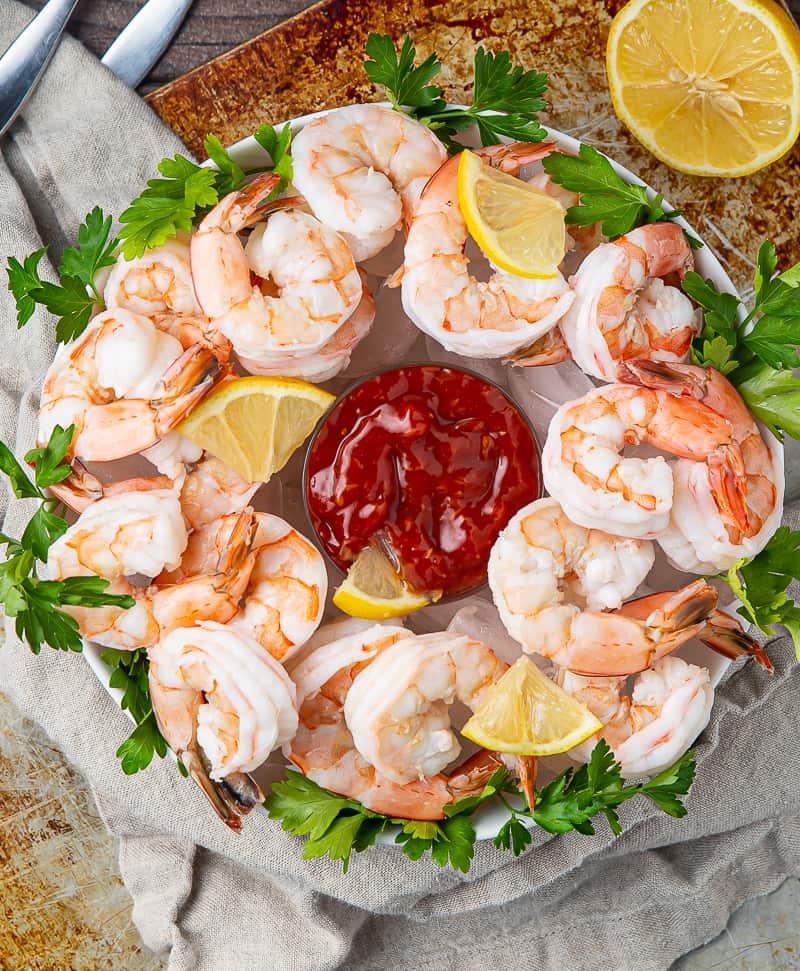 shrimp cocktail with lemon
