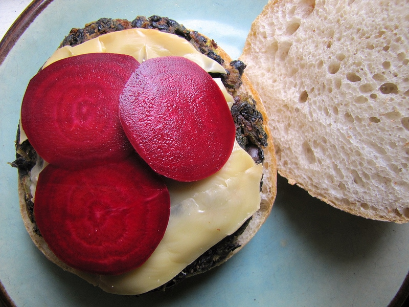 Black Bean and Swiss Chard Burger with Pickled Beets and Smoked Gouda