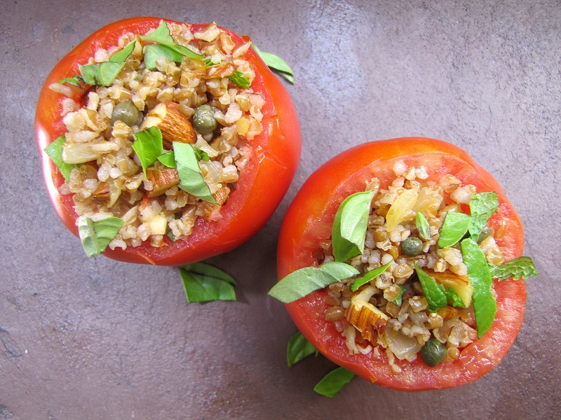 Stuffed Tomatoes with Bulgur, Almonds, Capers & Herbs