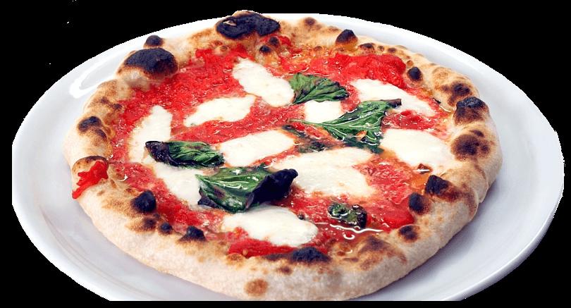 Pizza napoletana verace fatta in casa in cui è possibile distinguere perfettamente la mozzarella dal pomodoro
