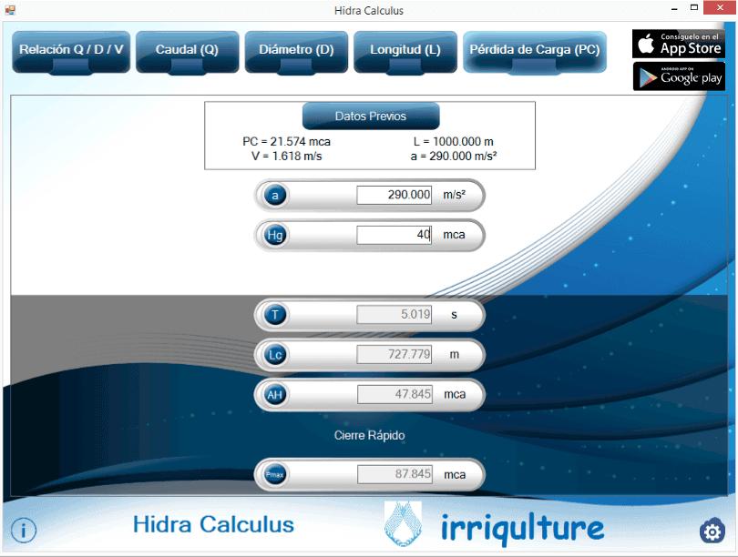 calculo golpe de ariete con hidra calculus para windows