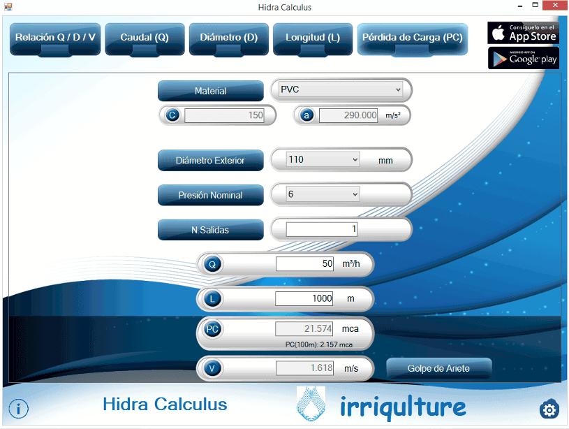 cálculo de pérdida carga en tuberías con hidra calculus windows
