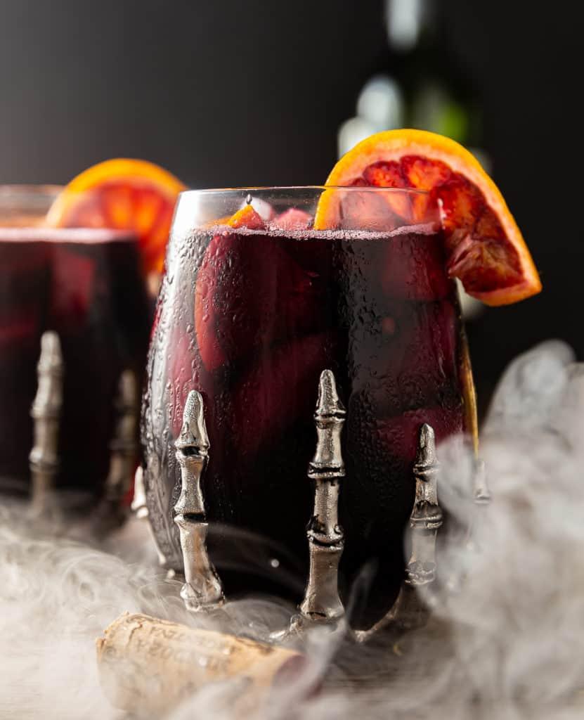 halloween sangria with dry ice