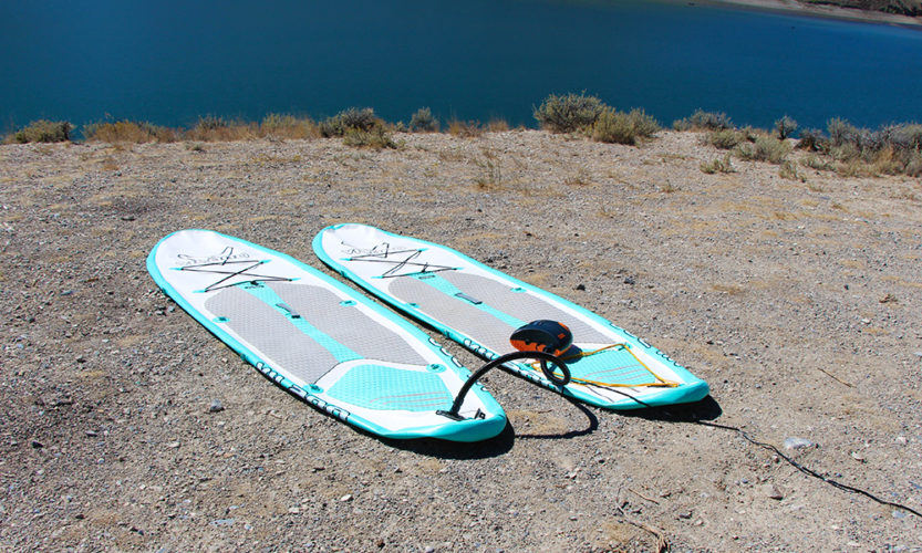 The Shark SUP Pump deflating my paddle boards.