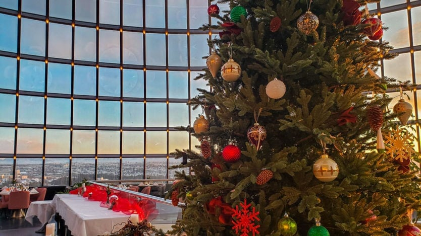 Christmas tree set up in the Perlan Restaurant