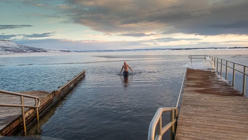cold lake dip at laugarvatn fontana