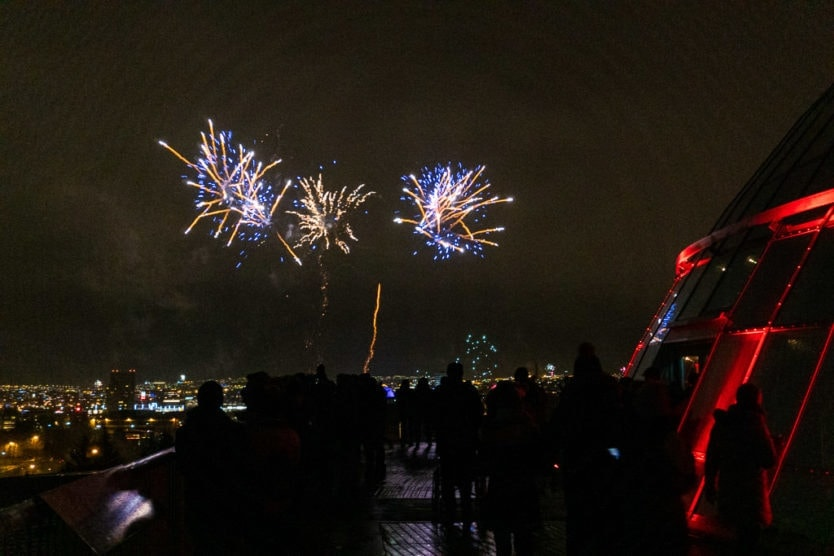 perlan reykjavik fireworks on new year's eve