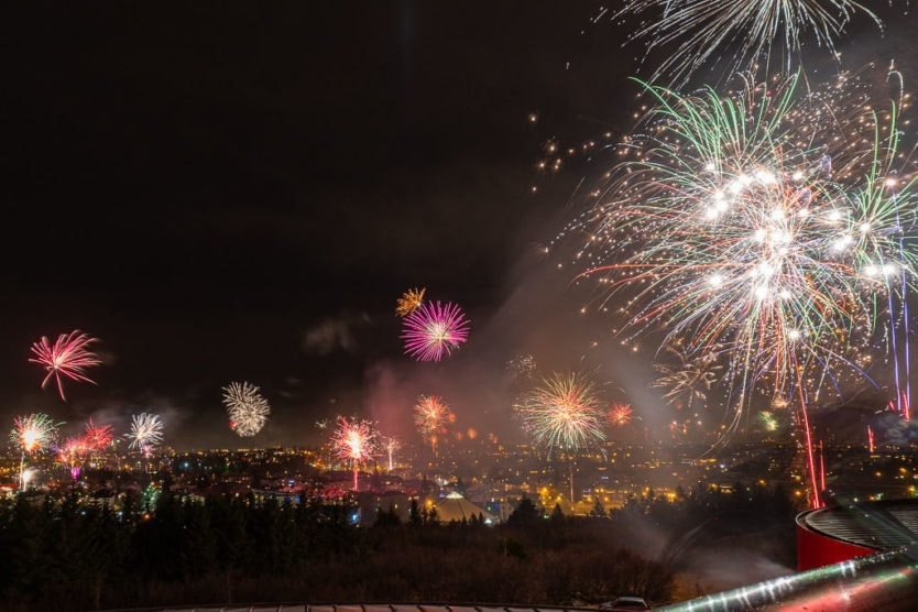 iceland new year views from perlan reykjavik fireworks viewing with local fireworks