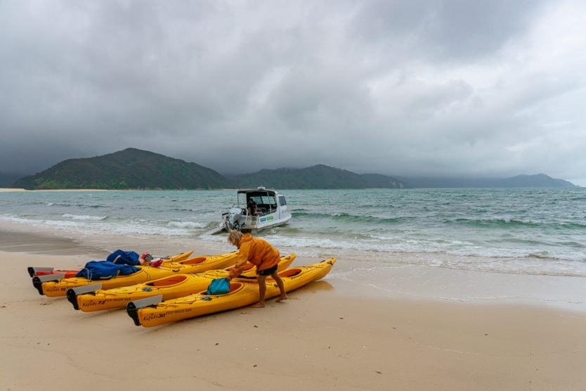 abel tasman kayaks on Awaroa beach