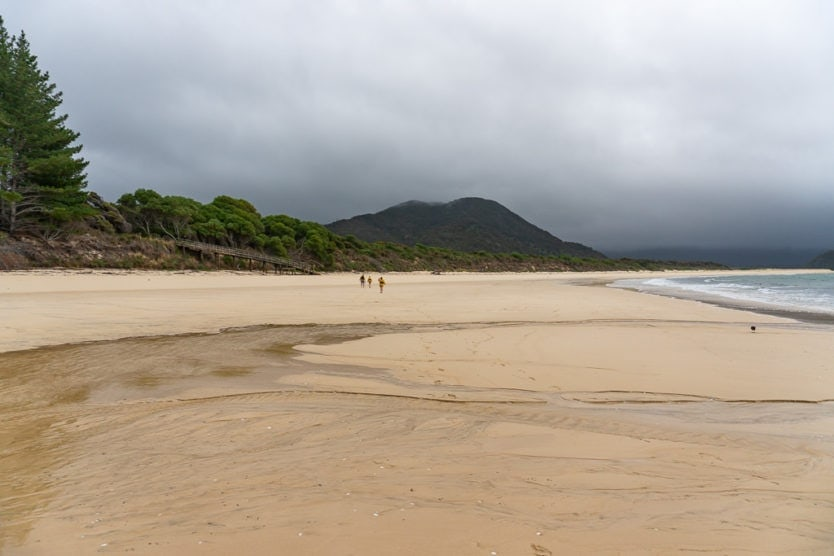 empty Awaroa Beach on a gloomy day in abel tasman national park