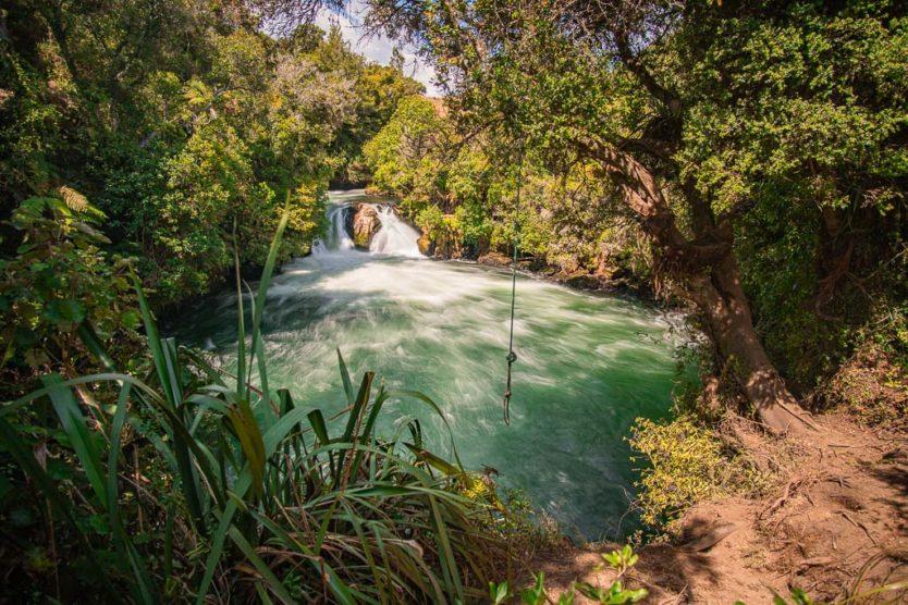 okere falls trail waterfall views near rotorua