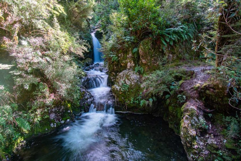 lower section of Avalanche Creek Falls from the historic bridge on the Millennium Walk in Arthur's Pass