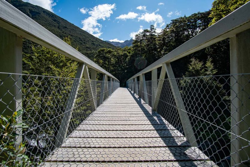 Bridge over Devils Punchbowl Creek with mountain views