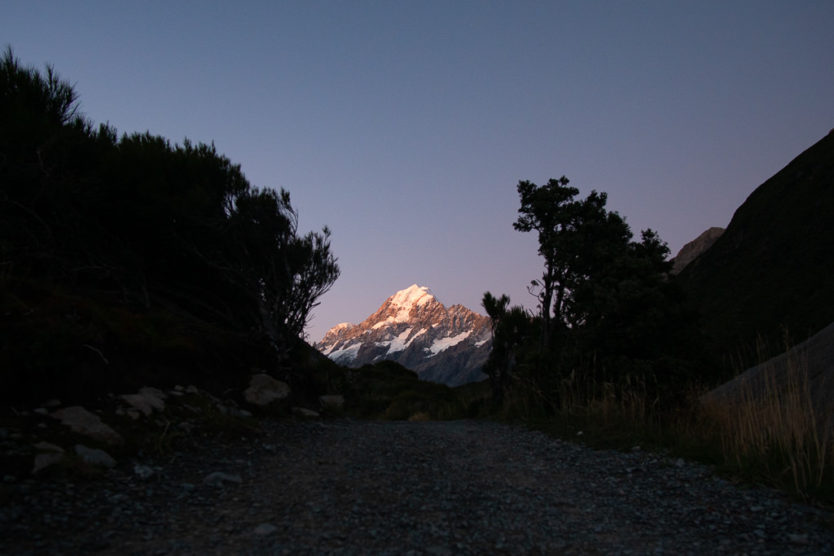 twilight on hooker valley track in mount cook new zealand