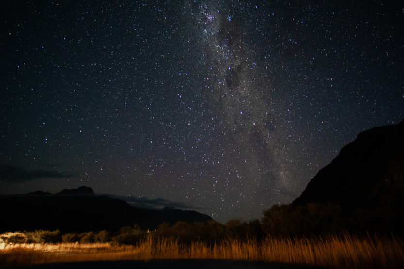 stargazing on hooker valley track in mount cook new zealand