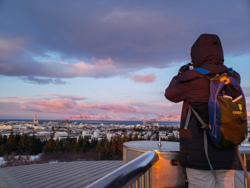 Buddy taking photos of Reykjavik on top of the Perlan 360 Observation Deck
