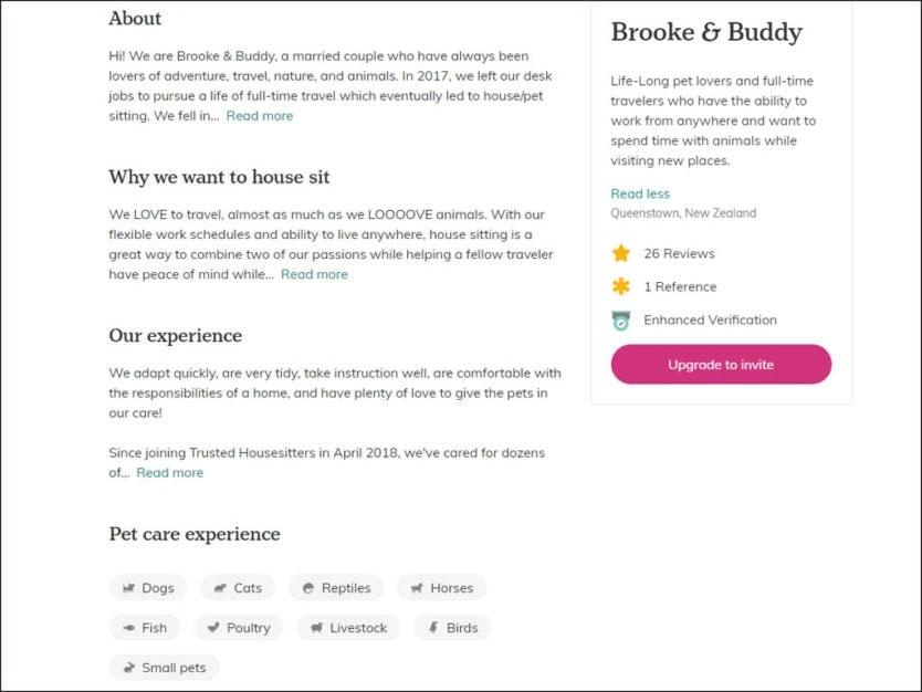 trustedhousesitters profile example