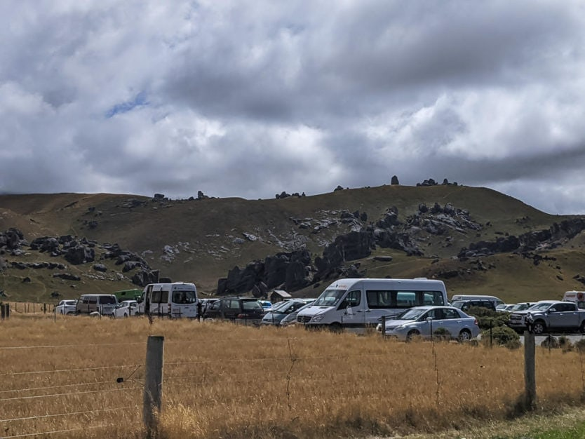 Full parking lot at Kura Tawhiti / Castle Hill Conservation Area