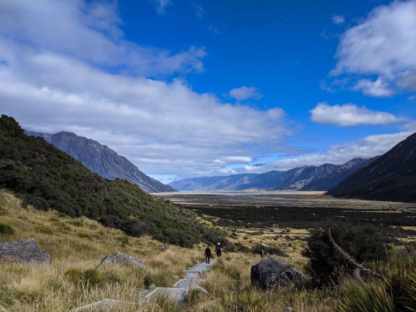 hooker valley track in mount cook new zealand