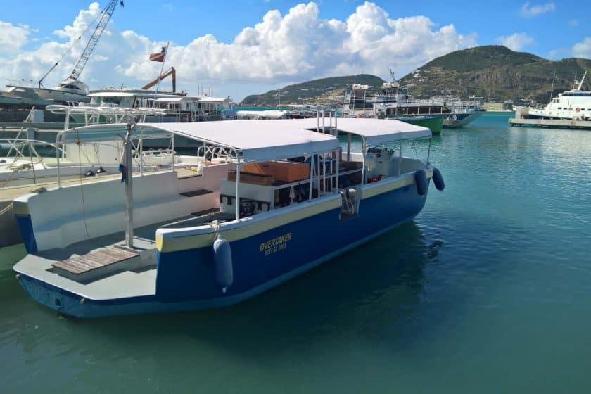 Overtaker. The boat SNUBA St Maarten uses for the snuba adventure