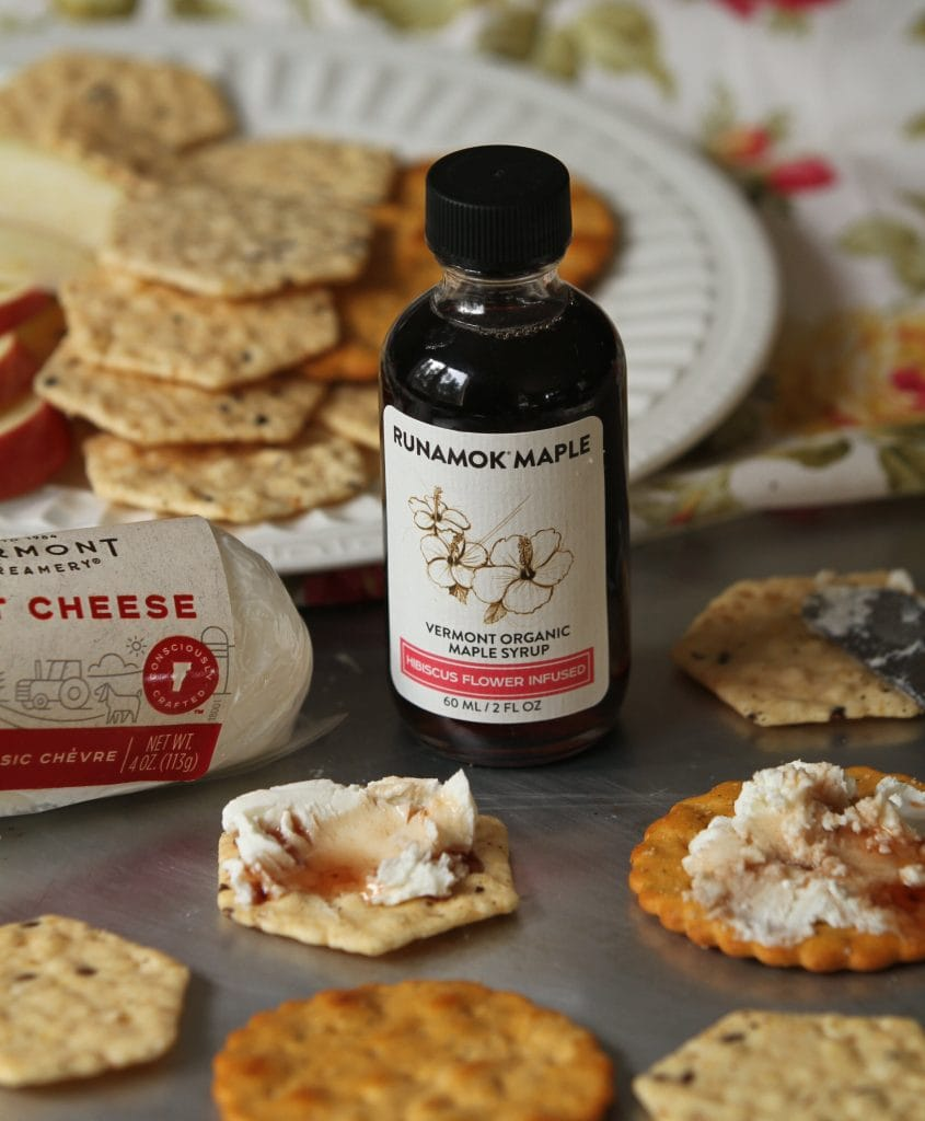 Hibiscus Infused Maple Syrup with Cheese