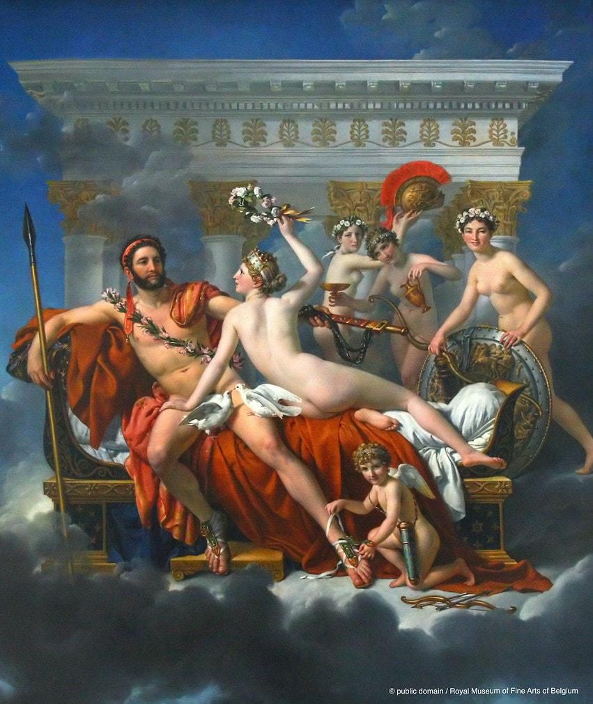 """""""Mars wird von Venus entwaffnet"""" - Ölgemälde von Jacques-Louis David, 1824."""