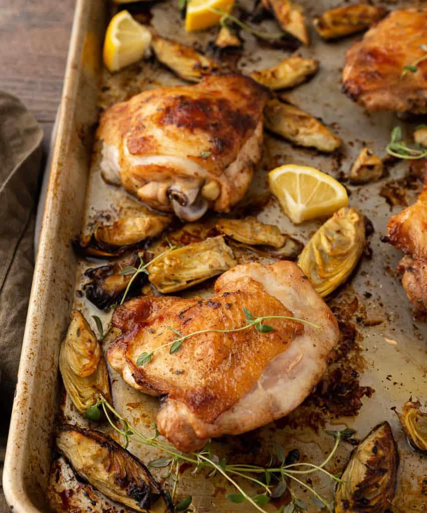crispy sheet pan chicken thighs