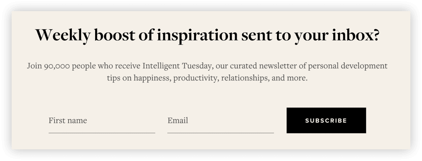Newsletter subscription box for the 5-Minute Journal