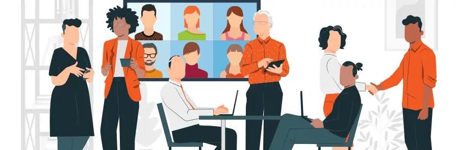 écran visioconférence de réunion