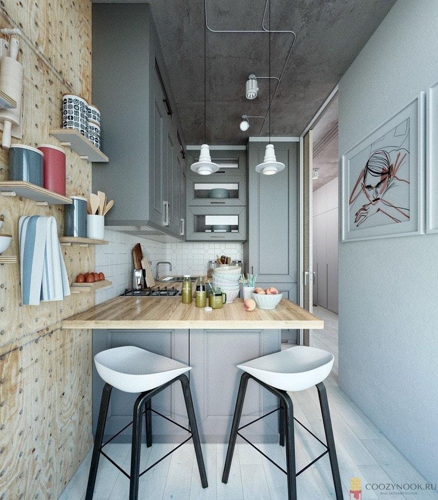 маленькая, кухня, в скандинавском стиле, фото, пример